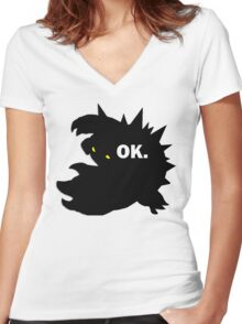 "Rammus ""OK."" Women's Fitted V-Neck T-Shirt"