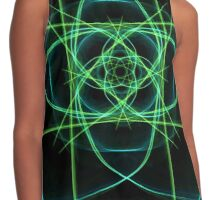 Teal Green Blue on Black Contrast Tank