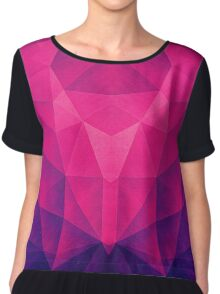 Abstract Polygon Multi Color Cubizm Painting in deep pink/purple  Chiffon Top