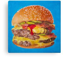 Double Cheeseburger Oil Painting Canvas Print