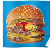 Double Cheeseburger Oil Painting Poster