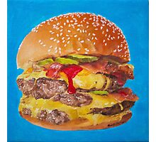 Double Cheeseburger Oil Painting Photographic Print