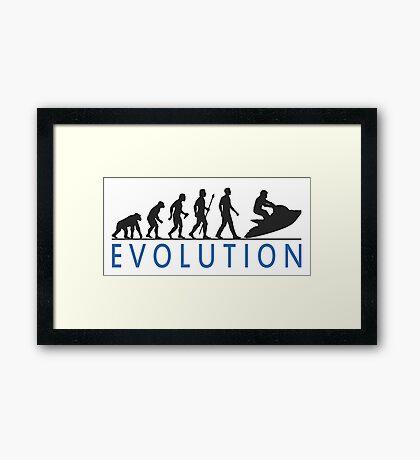 Evolution Of Man and Jet Ski Framed Print