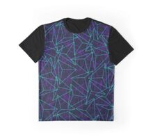 Abstract Geometric 3D Triangle Pattern in  turquoise/ purple  Graphic T-Shirt
