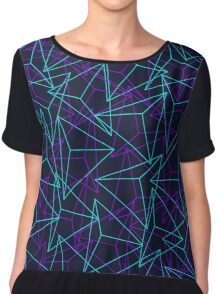 Abstract Geometric 3D Triangle Pattern in  turquoise/ purple  Chiffon Top