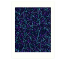 Abstract Geometric 3D Triangle Pattern in  turquoise/ purple  Art Print