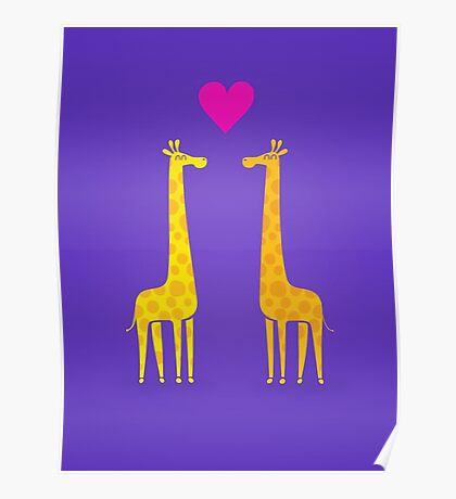 Cute cartoon giraffe couple in Love (Purple Edition) Poster