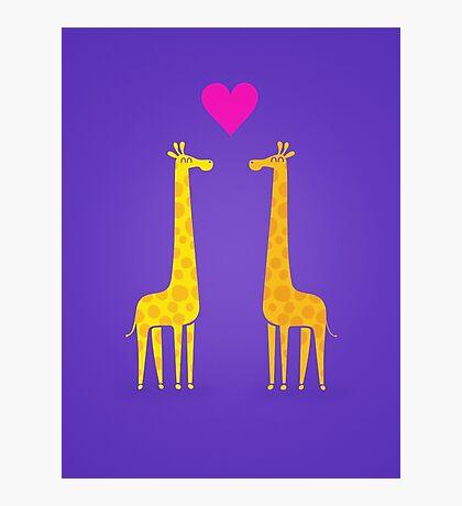 Cute cartoon giraffe couple in Love (Purple Edition) Photographic Print