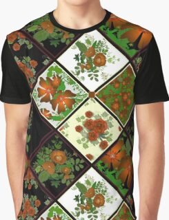 Patchwork seamless texture of yellow poppies on a black and white background Graphic T-Shirt