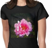 Morning Light, a mossy forest and a bright peony flower, landscape Womens Fitted T-Shirt
