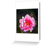 Morning Light, a mossy forest and a bright peony flower, landscape Greeting Card