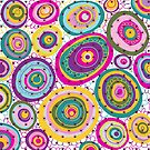 Colorful abstract hand drawn circles pattern by artonwear