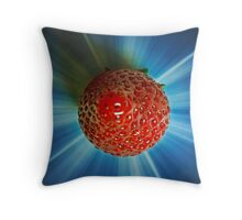 Strawberry with blue sunburst Throw Pillow