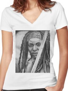 Michonne Women's Fitted V-Neck T-Shirt