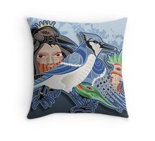 blue jay and crow Throw Pillow