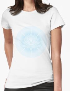 Silver Crystal Lotus Womens Fitted T-Shirt