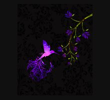 Purple Twilight Damask Hummingbird fantasy art Womens Fitted T-Shirt