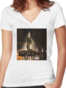 Rome's Fabulous Fountains - Bernini's Triton Fountain Women's Fitted V-Neck T-Shirt