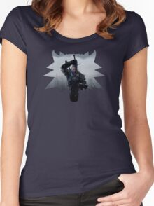 Wolf Medallion Silhouette - Geralt of Rivia - One Sword Women's Fitted Scoop T-Shirt