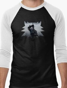 Wolf Medallion Silhouette - Geralt of Rivia - One Sword Men's Baseball ¾ T-Shirt