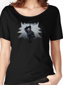 Wolf Medallion Silhouette - Geralt of Rivia - One Sword Women's Relaxed Fit T-Shirt