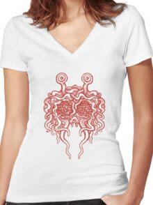 Flying Spaghetti Monster (tomato sauce) Women's Fitted V-Neck T-Shirt