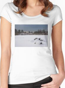 Fluffy Snowdrifts and Ominous, Threatening Skies  Women's Fitted Scoop T-Shirt