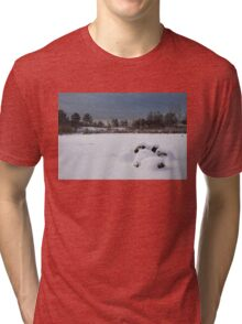 Fluffy Snowdrifts and Ominous, Threatening Skies  Tri-blend T-Shirt