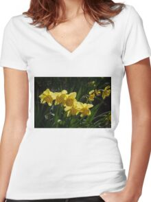 Sunny, Windy Spring Garden with Daffodils Women's Fitted V-Neck T-Shirt