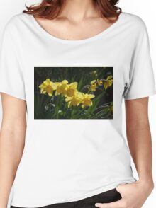 Sunny, Windy Spring Garden with Daffodils Women's Relaxed Fit T-Shirt