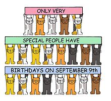 Cats celebrating Birthdays on September 9th. by KateTaylor