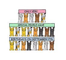 Cats celebrating Birthdays on September 17th Photographic Print