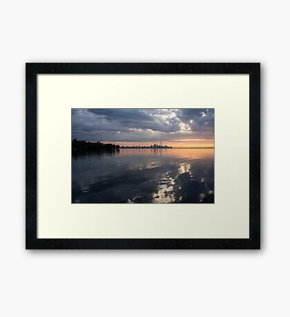 Early Morning Reflections - Lake Ontario and Downtown Toronto Skyline  Framed Print
