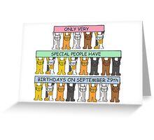 Cats celebrating Birthdays on September 29th. Greeting Card