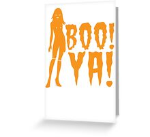BOO! YA! sexy woman figure Halloween laugh  Greeting Card