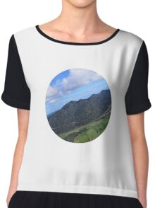Aerial Photo Mountains Scenic Countryside Chiffon Top