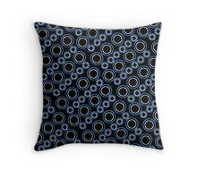 Graphic Circle Shapes Design blue white black 519J Throw Pillow