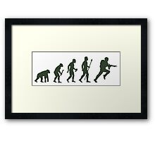 Funny Army Evolution Of Man Framed Print