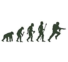 Funny Army Evolution Of Man Photographic Print