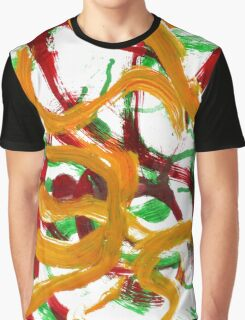 Red Yellow Green Strokes Graphic T-Shirt