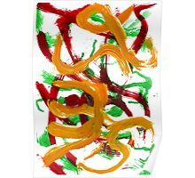 Red Yellow Green Strokes Poster