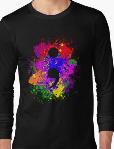 Semicolon Paint Splatter Long Sleeve T-Shirt