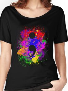 Semicolon Paint Splatter Women's Relaxed Fit T-Shirt