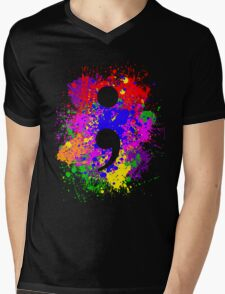Semicolon Paint Splatter Mens V-Neck T-Shirt
