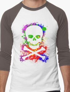 Paint Splatter Skull Men's Baseball ¾ T-Shirt