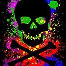 Paint Splatter Skull by GrimDork