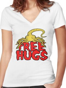 Free Face Hugs Women's Fitted V-Neck T-Shirt
