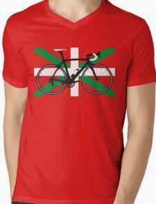 Bike Flag Basque (Big - Highlight) Mens V-Neck T-Shirt