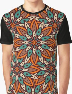 Fairy-tale pattern of flowers in orange brown colors and turquoise. Graphic T-Shirt