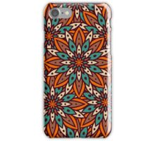Fairy-tale pattern of flowers in orange brown colors and turquoise. iPhone Case/Skin